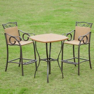 3-Piece Valencia Steel-Frame Wicker Bistro Table and Chairs Set